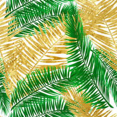 Gold tropical leaves on transparent background. Greeting cards, wallpapers, flyers and banners jungle concept. Colorful realistic style. Vector illustration. EPS 10.