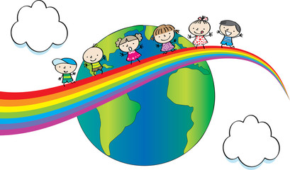 Door stickers kids on the rainbow and earth