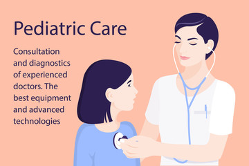 Pediatrician. A child doctor diagnoses a child with a stethoscope. Vector illustration