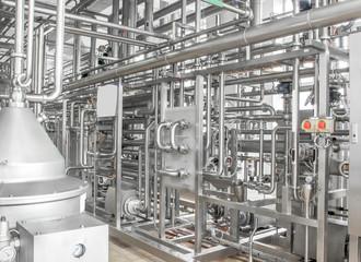 Brilliant aluminum metal pipes. Plant food industry
