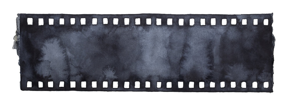 Painted grunge film strip. Blank template, monochrome gradient, horizontal image. Design element, wallpaper, backdrop decoration. Hand drawn watercolour paint illustration on white, isolate.