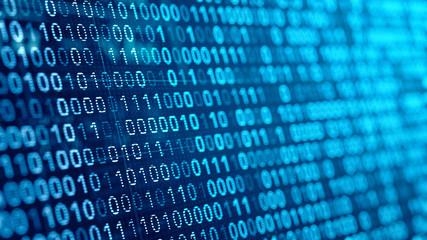 digital binare code background. 3d illustration