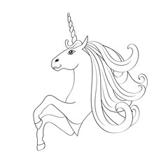 Fairy-tale Unicorn, sketch for coloring book.