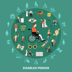 Disabled Person Round Composition