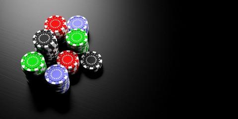 Casino concept. Poker chips stacks on black background, banner, copy space. 3d illustration