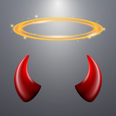 Set of a horns and a halo on gray background