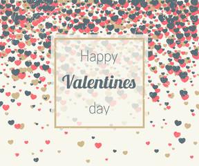 Valentines card with hearts confetti
