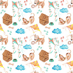 Watercolor cute funny dogs playing kites seamless pattern, hand drawn isolated on a white background
