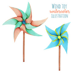 Watercolor windmill toys illustration, hand drawn isolated on a white background