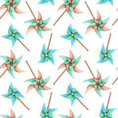 Watercolor windmill toys seamless pattern, hand drawn isolated on a white background