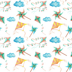 Watercolor flying kites in the sky seamless pattern, hand drawn isolated on a white background