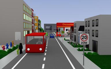 Stadtansicht mit einer Schule, Straßenschildern, Autos, Fußgängern und Geschäften.