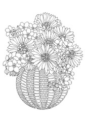 Hand drawn bouquet with sunflowers. Sketch for anti-stress adult coloring book in zen-tangle style. Vector illustration for coloring page, isolated on white background.