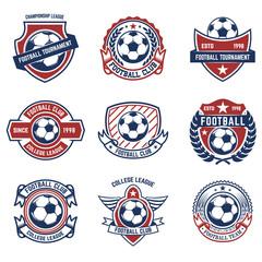 Set of soccer, football emblems. Design element for logo, label, emblem, sign.