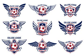 Set of winged emblems with soccer ball. Design element for logo, label, emblem, sign.