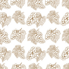 Seamless pattern with hand drawn grape. Design element for poster, card, banner, flyer.