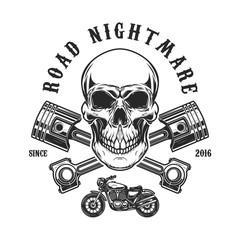 Road nightmare. Human skull with crossed pistons. Design element for logo, label, emblem, sign, t shirt print.