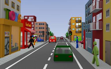 Stadtansicht mit grüner Ampel, Häusern, Autos, Fußgängern und Geschäften. 3d render