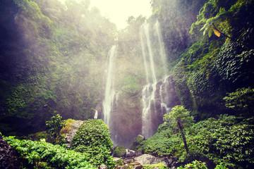 Woman feels the fresh from the Sekumpul waterfall in Bali, Indonesia