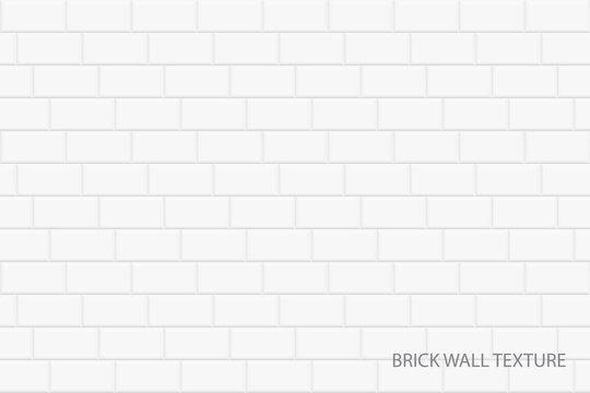 Brick wall vector background - seamless white texture. Geometric design