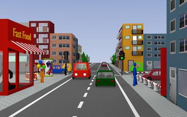 Stadtansicht mit grüner Ampel Kreuzung, Häusern, Autos, Fußgängern und Geschäften. 3d render