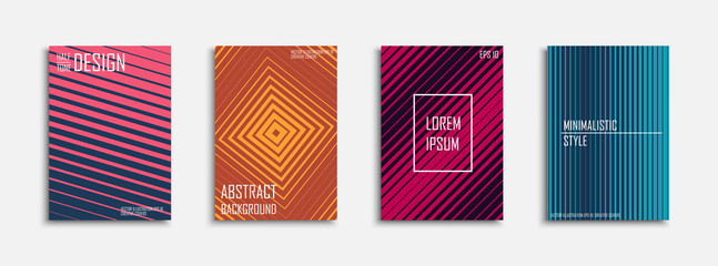Collection of halftone abstract posters - fashion design. Colorful covers