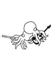 flöte 2 freunde team paar elektrische gitarre spielen musik party feiern band heavy metal hard rock riesig groß böse gefährlich oktopus tentakel unterwasser tintenfisch riesenkrake kraken
