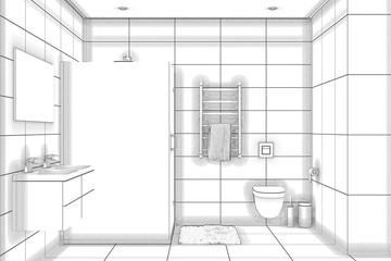 3d illustration. Sketch of a shower