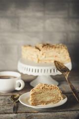 cake - Napoleon (cake with white cream is layered)
