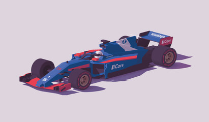 Vector low poly formula racing car