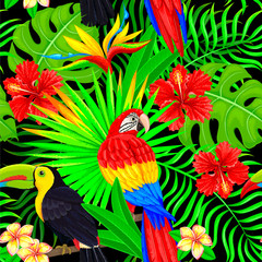 Seamless pattern of tropical bird leaves and flowers on black
