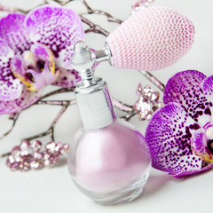 Cosmetics powder and orchids