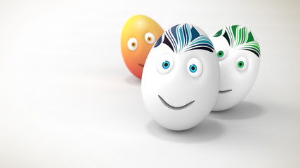 3D illustration of three easter smiling eggs