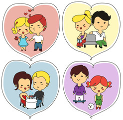 Happy valentine's day greeting cards with lovers. The couples holding hands, kissing, meeting, drinking wine, walking with cute dog