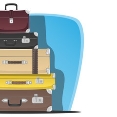 Five retro suitcases standing on top of each other. Place for text.