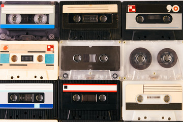 Group of retro audio cassettes