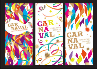 Carnival background. Translation from the Portuguese text: Carnival. Vector design template for banner, poster, leaflet or invitation for a festival, carnival, event or festive party