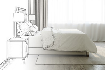 3d illustration. Sketch of a bedroom to become a real interior