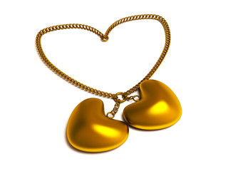 Golden heart pendant with chain in the form of heart. Isolated 3D image.
