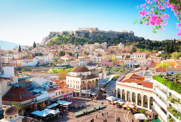 Poster de jardin Athenes Skyline of Athenth with Acropolis hill