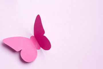 red butterfly paper on the white wooden wall