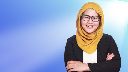 Muslim Businesswoman Standing With Crossed Arms
