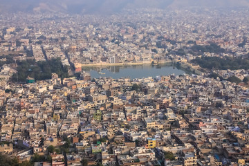 Beautiful top view landscape of the city of Jaipur in Rajasthan India.