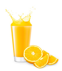 glass of splashing orange juice