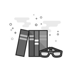Books and glasses icon in flat outlined grayscale style. Vector illustration.