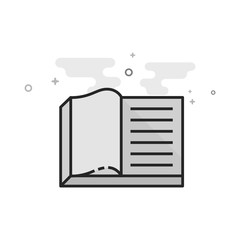 Books icon in flat outlined grayscale style. Vector illustration.