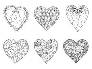 Set of  drawn  hearts  with flowers and plants for Valentine's Day or weddings