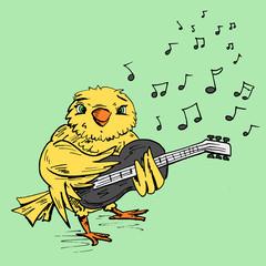 Vogel speelt op elektrische gitaar
