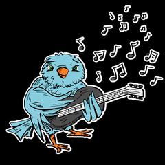 Blauwe vogel speelt gitaar