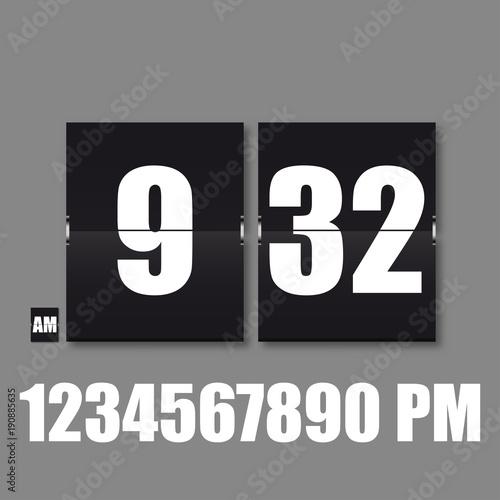 Flip Countdown timer  Flat vector business sign